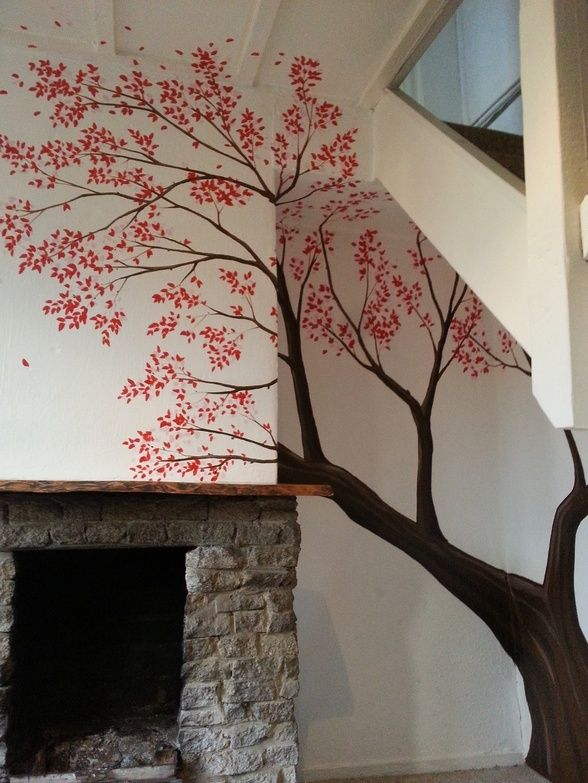 This pretty blossom tree mural was painted under the for Cherry tree mural
