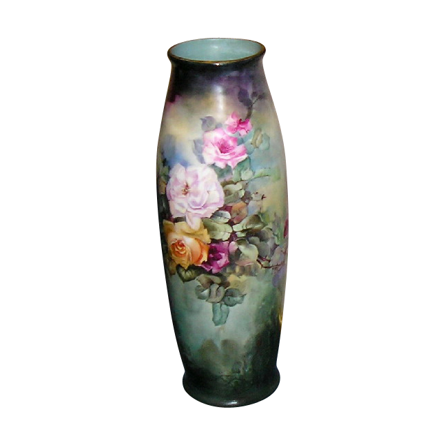 "~ Limoges Vase ~ 22"" Tall ~ Beauty Beyond Words ~ Hand Painted Roses"