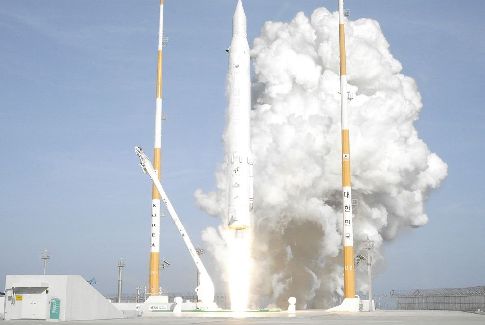A Korean Space Launch Vehicle 1 rocket, also called Naro, launches into orbit from South Korea's Naro Space Center on Jan. 30, 2013, successfully carrying a science satellite into orbit. It marked South Korea's third KSLV-1 rocket launch, and the booster's first successful flight.