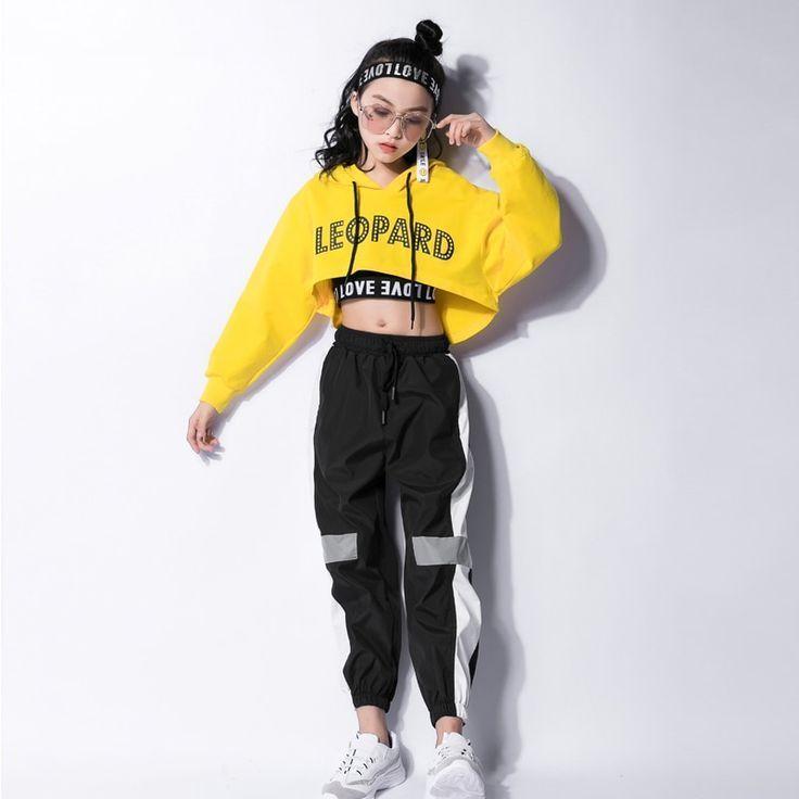 Jazz Hip Hop Dance Suit Kids Long Sleeve Hooded Top Pants Col