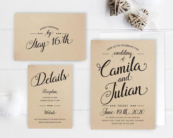 Printed Affordable Wedding Invitations Packs Rustic Wedding