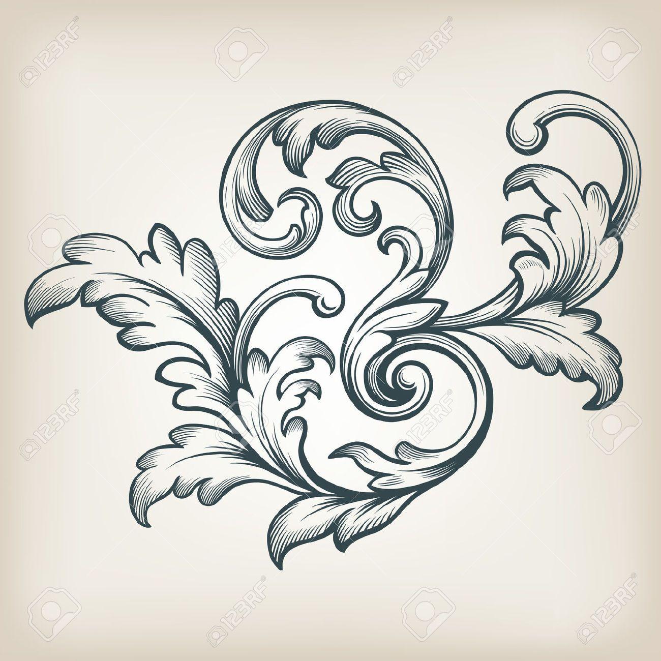 Vintage Barock Rolleentwurf Rahmen Gravur Akanthus Blumengrenze Musterelement Retro Stil Filigrane Vektor Filigrane Tatowierung Barock Mandala Selber Malen