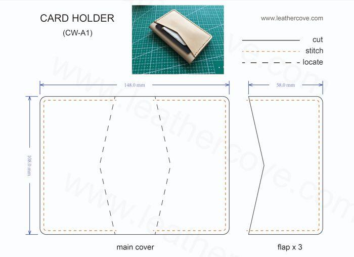 Bifold Card Wallet Pattern Pdf Leathercove Leather Wallet Pattern Card Wallet Pattern Diy Leather Wallet Pattern