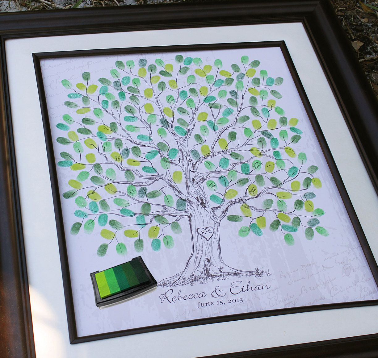 Personalized Thumbprint Tree Wedding Guest Book Alternative: Wedding Gift Hand Drawn Wedding Guest Book Thumb Tree