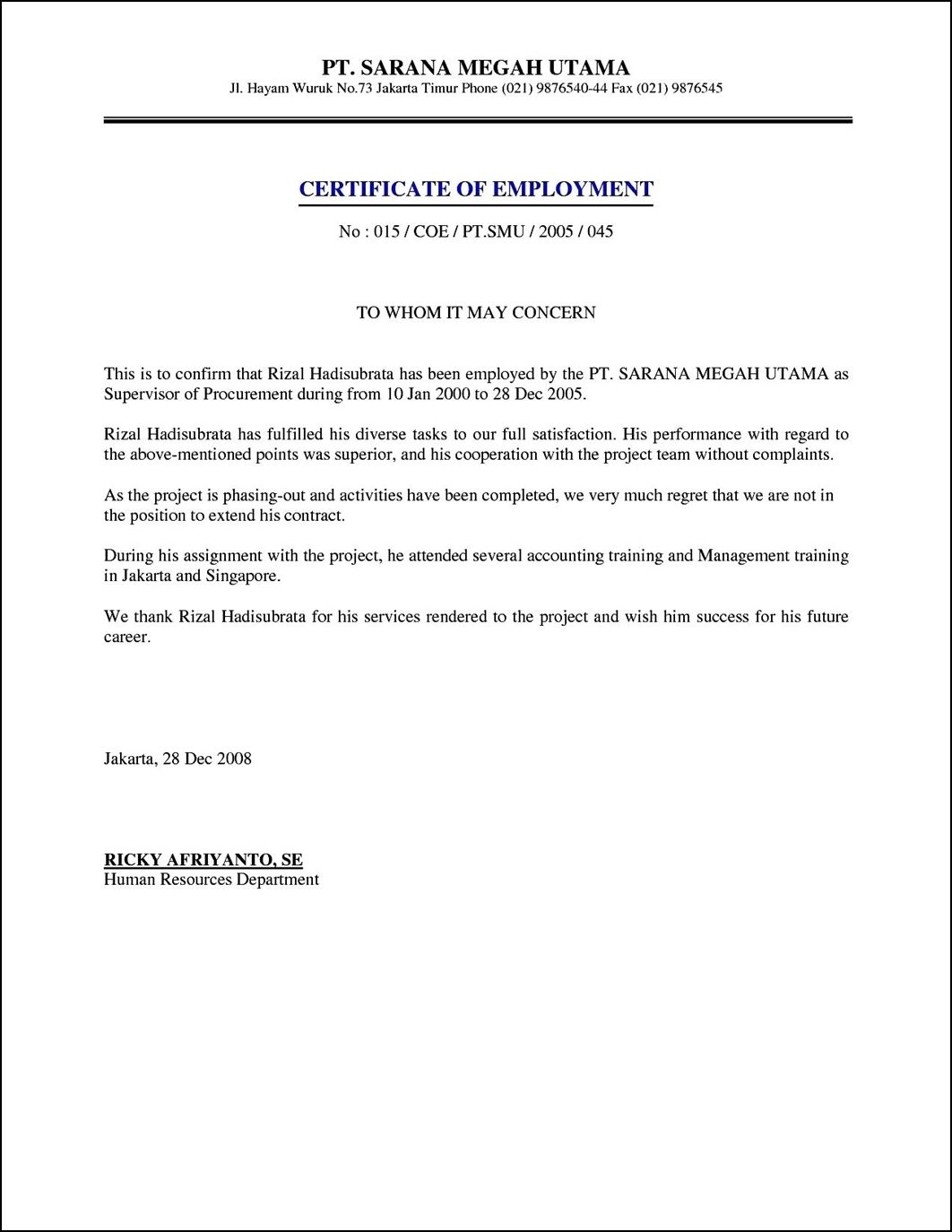 employment certificate format letter the sample what certified