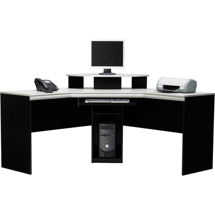 Furniture Appealing Large Black Wooden Corner Desk With Drawer
