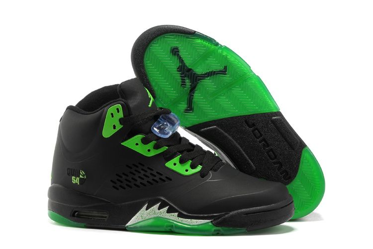 Black · New Air Jordan Retro 5 Black Green Shoes
