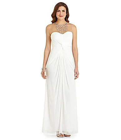 Adrianna Papell Illusionneckline Gown Dillards I Like This One Too Gatsby Wedding Dress Evening Dresses Mother Of The Bride Dresses