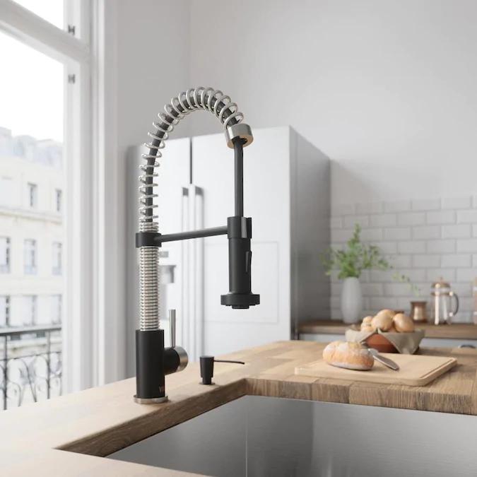 Vigo Edison Stainless Steel Matte Black 1 Handle Deck Mount Pull Down Kitchen Faucet Lowes Com Black Kitchen Faucets Kitchen Faucet Single Handle Kitchen Faucet