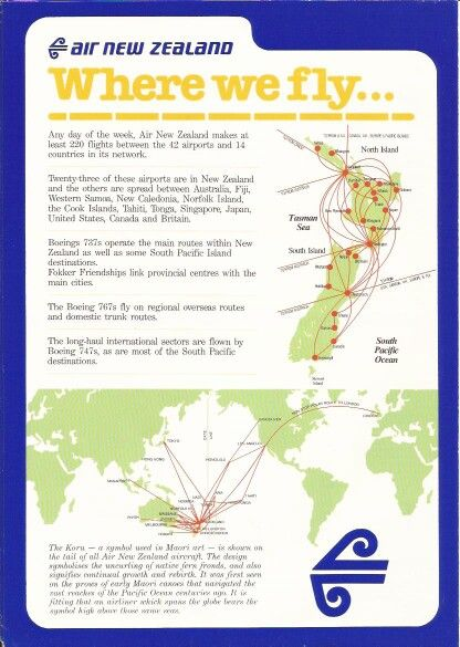 Air New Zeland Information Sheet | Route maps | Air new zealand ...