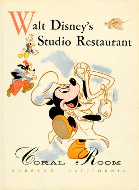 This menu from the Walt Disney Studio's restaurant is the variant that features Mickey ringing the dinner bell with Donald, Goofy and Pluto in the background.