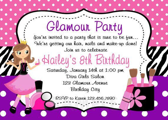 Glamour Girl Birthday Spa Invitation Glamour Girl Birthday Etsy In 2021 Happy Birthday Invitation Card Birthday Party Invitation Templates Printable Birthday Invitations