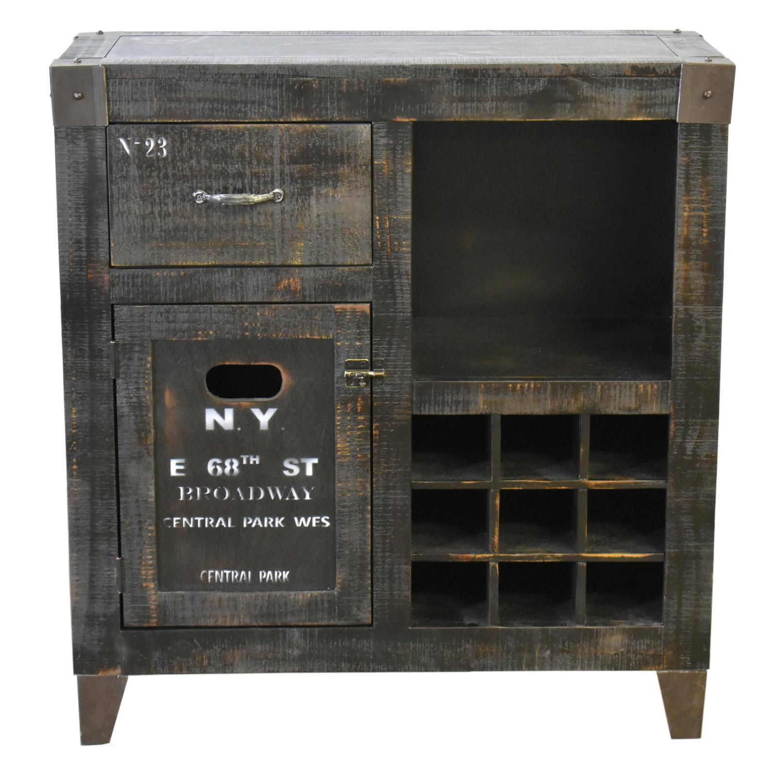 Graffiti Solid Wood Wine Cabinet /& Bar New York
