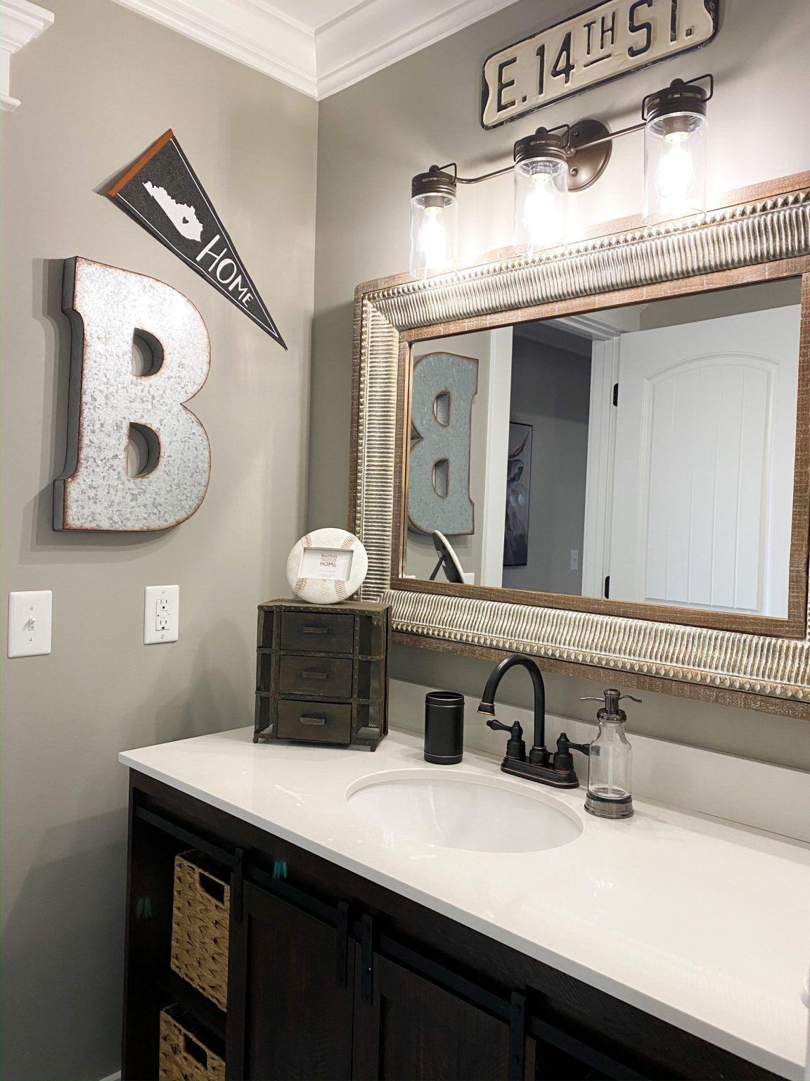 Little Boy's Bathroom Reveal - Re-Fabbed in 2020   Boys ...