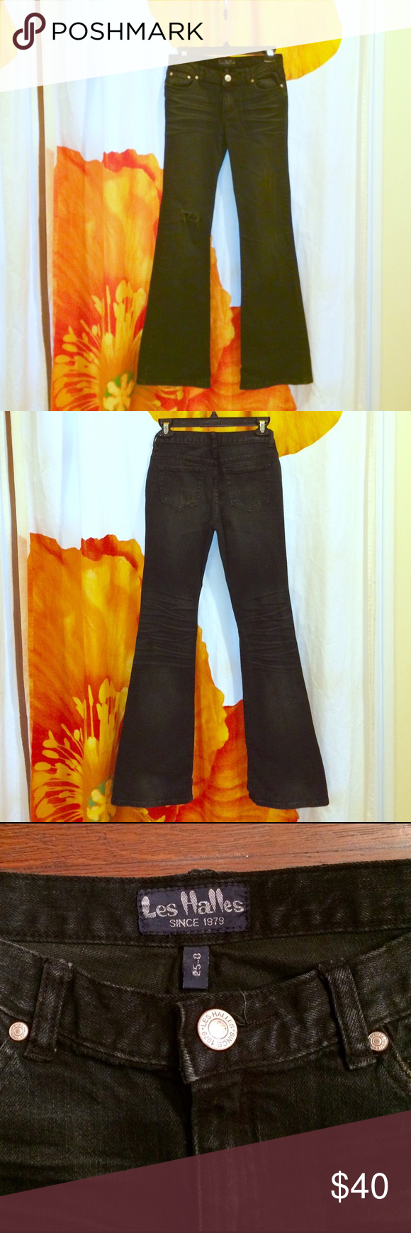 """NWOT iconic Les Halles distressed flare-leg jeans Five-pocket low-rise faded black jeans. Inseam 31"""", rise (front) 7.5"""", rise (back) 12"""", waist 13.75"""" across & 29"""" around, leg 9"""" across at thigh & 9.75"""" at bottom. Zip fly with button. Hole on right leg at knee, distressed on left thigh & back pocket. Never worn and I've finally admitted I'll never be at my fighting weight again so I'm letting them go. Les Halles Jeans Flare & Wide Leg"""