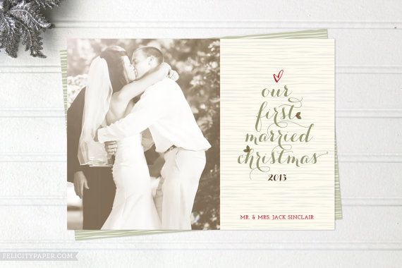 newlywed christmas cards just married photo holiday cards double