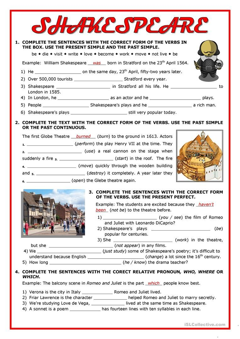 Shakespeare Tenses Revision Worksheet Free Esl Printable Worksheets Made By Teachers Shakespeare English Lesson Plans English Activities