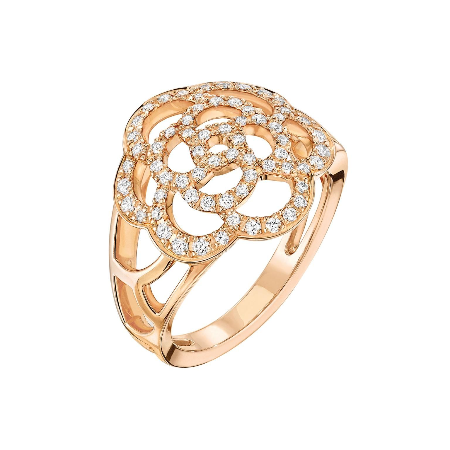 Chanel Camlia ring in rose gold and diamonds JEWELRY Chanel