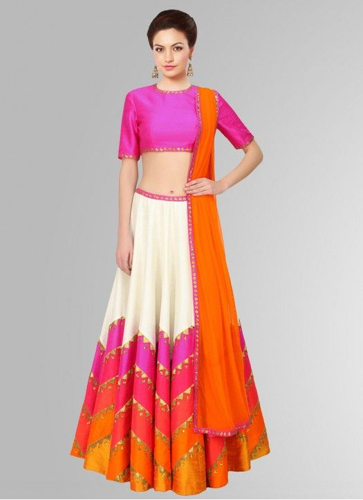 Buy Ivory and shades of red and pink sequins embroidered lehenga set by  PRIYAL PRAKASH online
