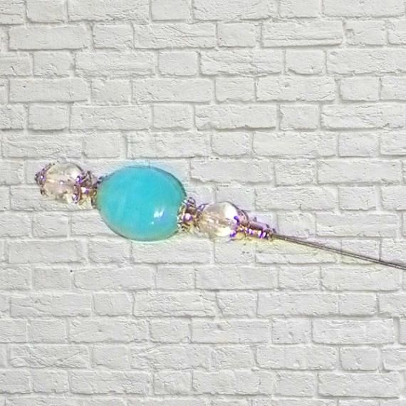 Hat Pin Blue Victorian Edwardian Vintage Style Color Glass