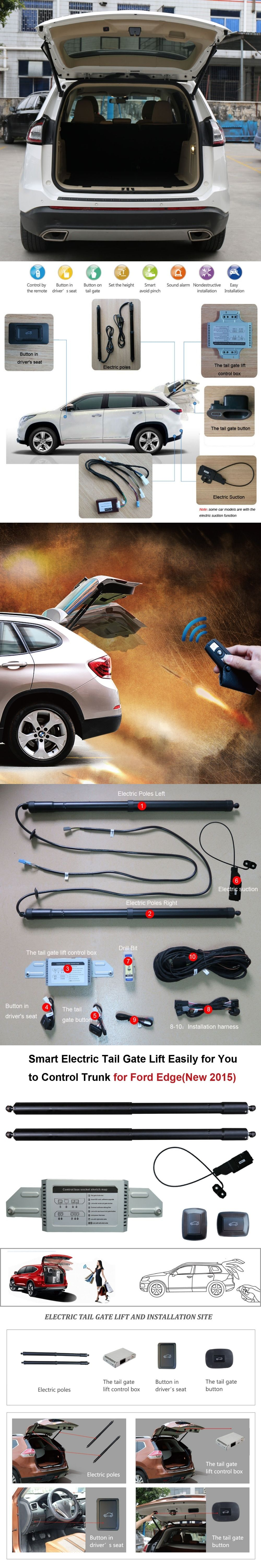 Smart Auto Electric Tail Gate Lift For Ford Edge Remote Control Set Height Avoid Pinch With