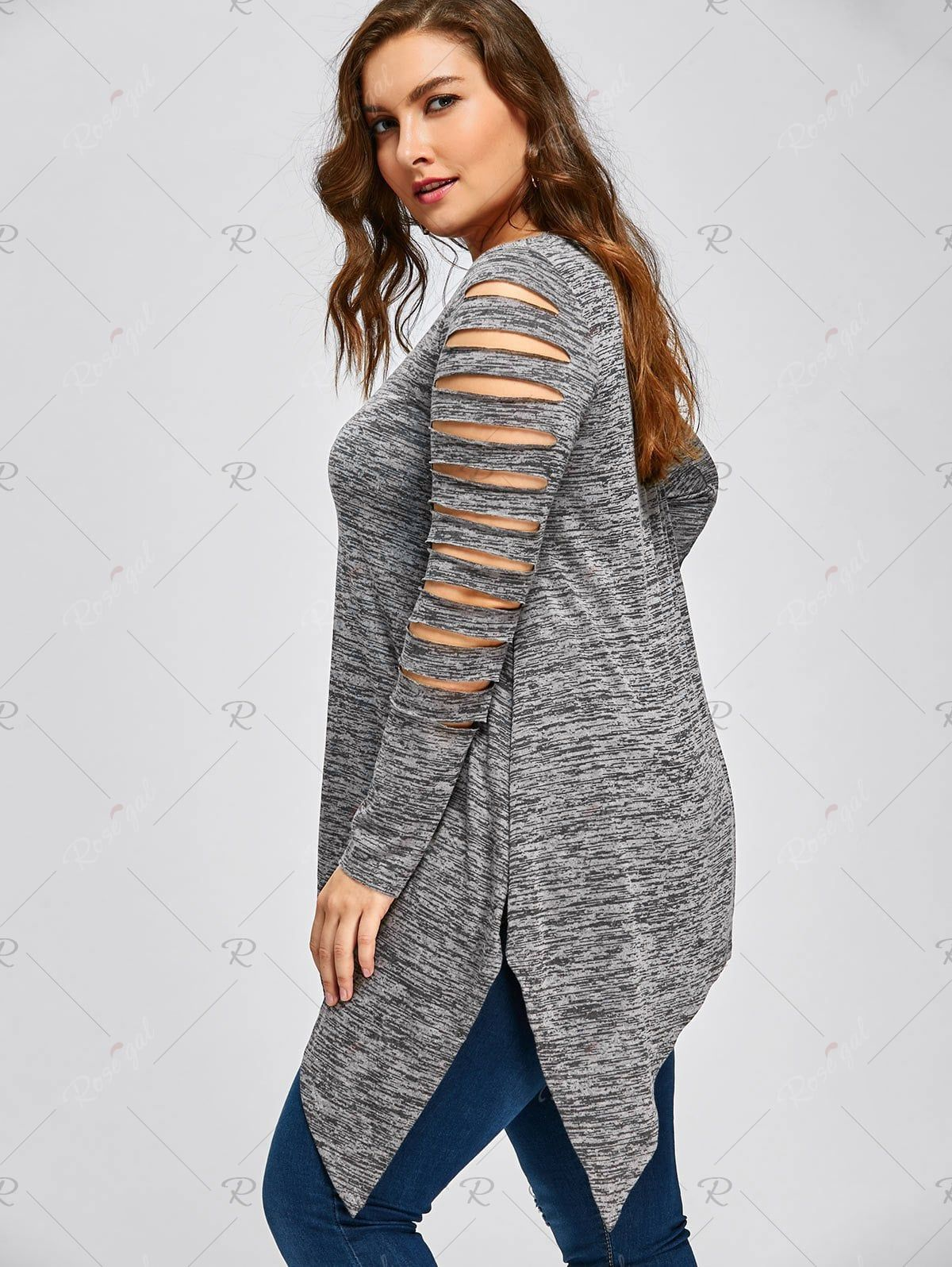 64ae243a4a8850 Plus Size Ripped Sleeve Marled Handkerchief Top in 2019   pretties ...