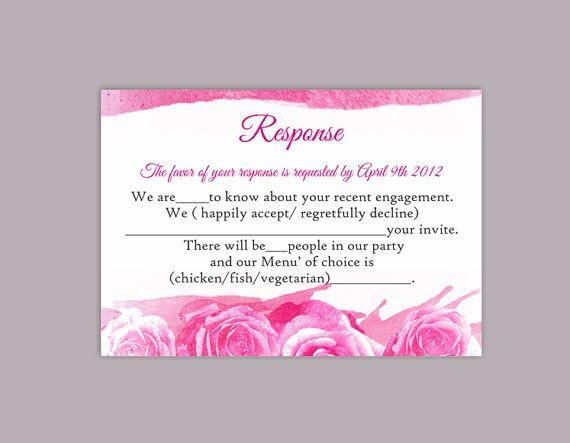 DIY Watercolor Wedding RSVP Template Editable Word File Instant – Rsvp Wording Template