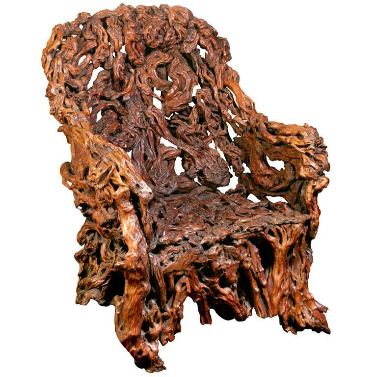 Massive Chinese Rootwood Chair China Qing Dynasty, 19th