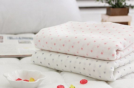 Organic Unbleached Bamboo Muslin Fabric by yard 2-Ply Swaddle Baby Cover Bib