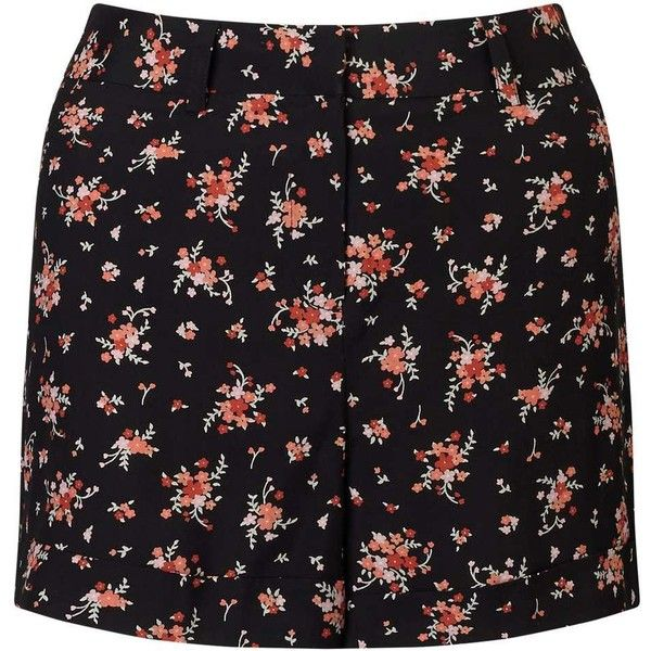 Miss Selfridge Red Floral Turn Up Short ($14) ❤ liked on Polyvore featuring shorts, skirts, assorted, floral printed shorts, flower print shorts, red floral shorts, rayon shorts and floral shorts