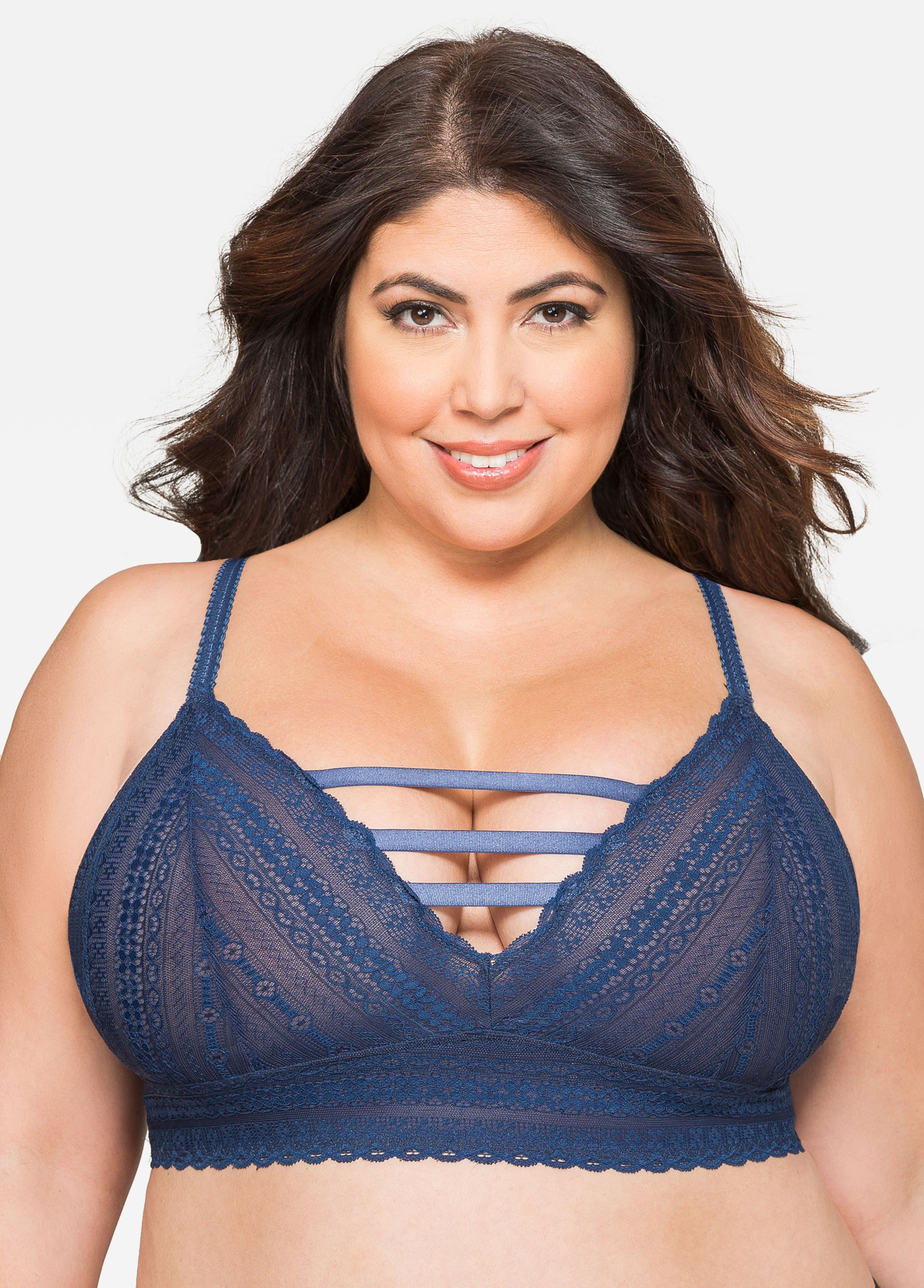 5faf8ea87af42 Strappy Lace Bralette - Ashley Stewart