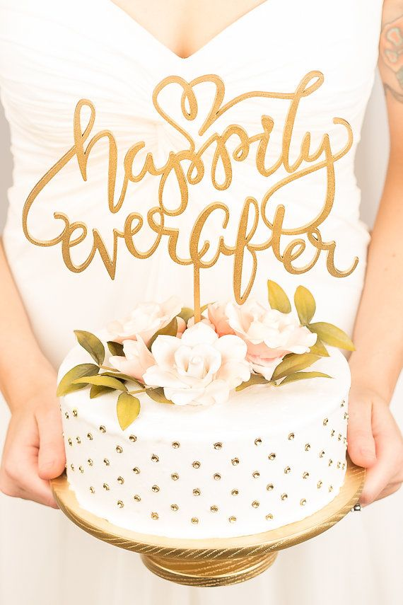 Happily Ever After Script Cake Topper   Acrylics, Wedding and Ever after