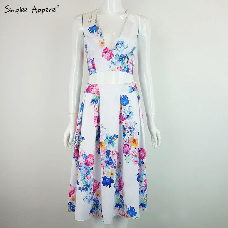 Simplee Apparel Summer floral print women dress Party sexy v neck evening vestidos de festa Two piece spaghetti strap dresses