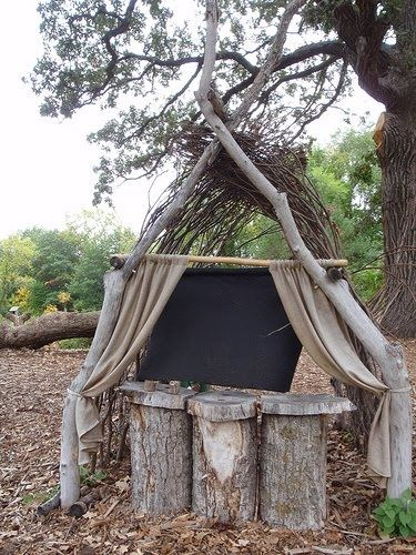 Theater out back make a natural playground and kids will naturally use it in wonderful ways - Natural playgrounds for children ...