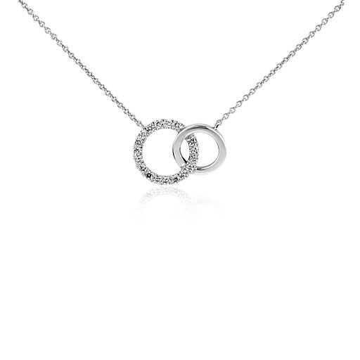 4159b8434bb2 Mini Duet Circle Diamond Necklace in 14k White Gold | Blue Nile