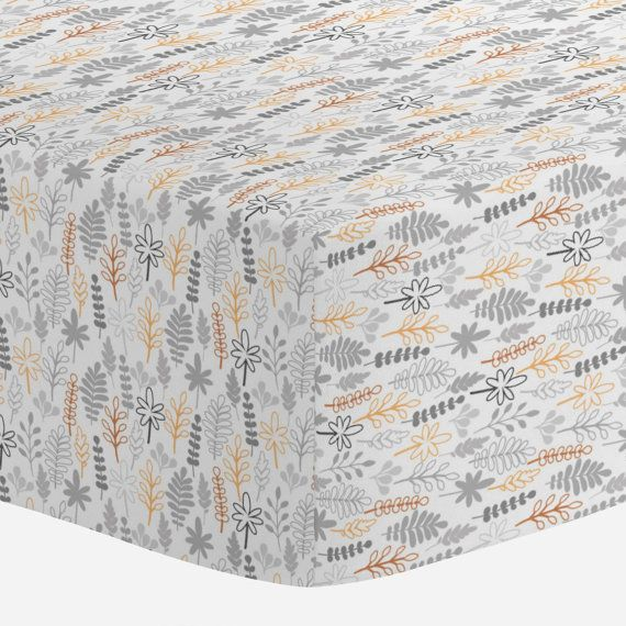 Crib Sheet In Light Orange And Gray Ferns Our Ed