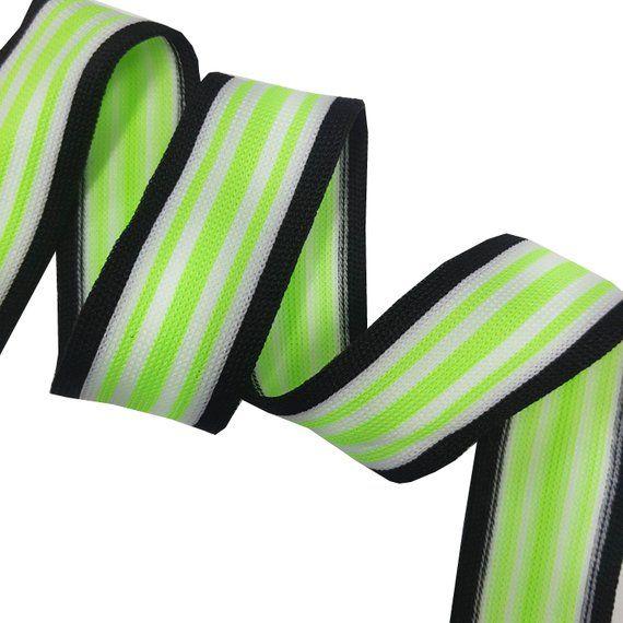 5f391954f48 Stretch Elastic Striped Ribbon Trim Green Black White Ribbon