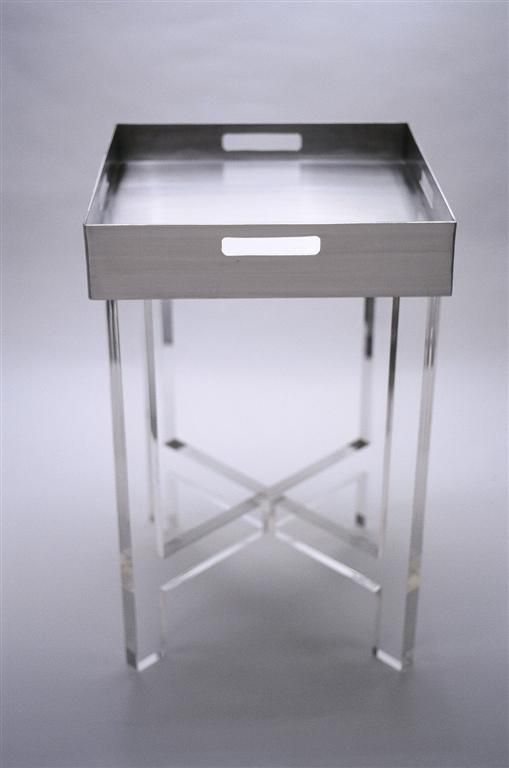 Side Table Gray Lucite Furniture Acrylic Furniture Mirrored Furniture