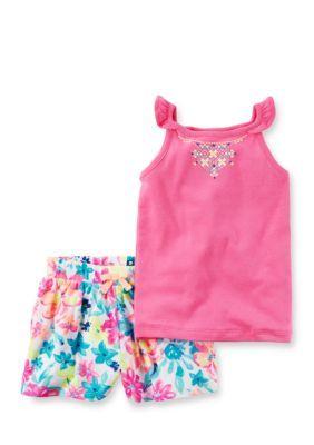 076ca8f33 Carters Pink 2-Piece Neon Flutter Sleeve Top Floral Short Set ...
