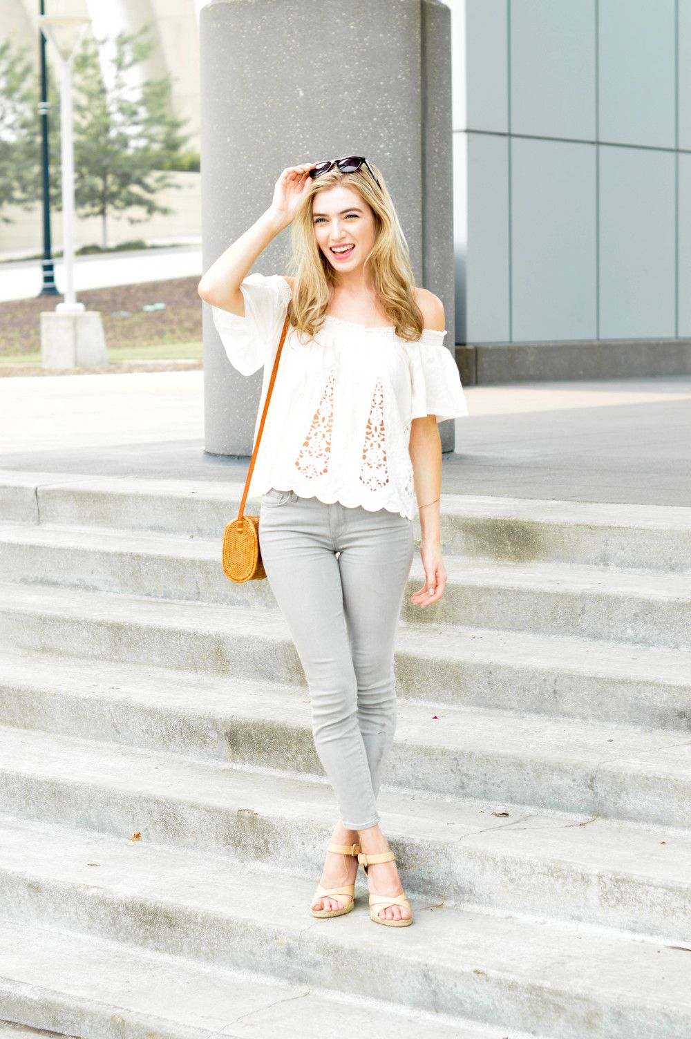 Blogger Style - Off the shoulder tops. Check out our blog for more.outfit ideas.