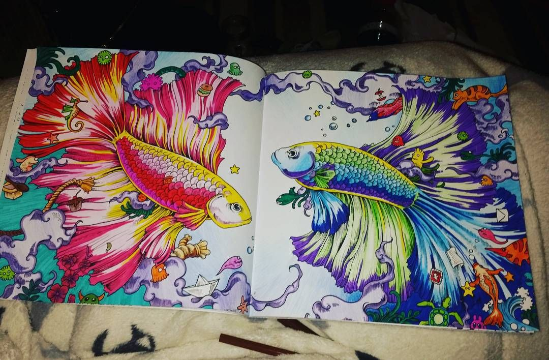 Betta Fish Adult Coloring Books #therapy | Adult coloring ...