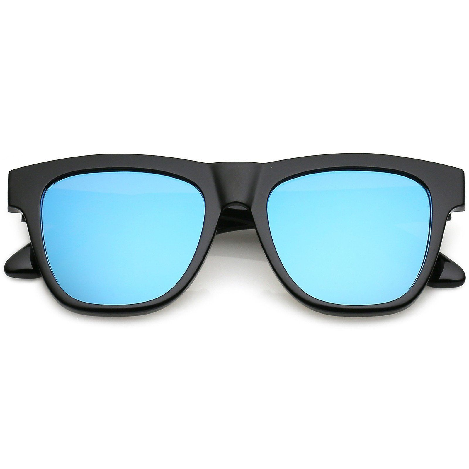 Classic Horn Rimmed Sunglasses With Thick Arms Square Mirror Flat ...