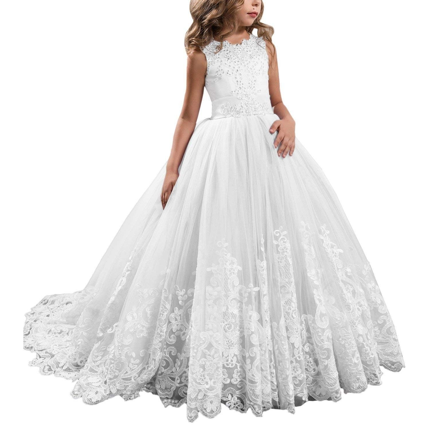 Ball Gown Lace Girls Toddler Pageant Dress First Communion Dress Fb055 A White C617z55x0l4 Flower Girl Dresses Tulle Girls Pageant Dresses Kids Pageant Dresses For Teens [ 1500 x 1500 Pixel ]