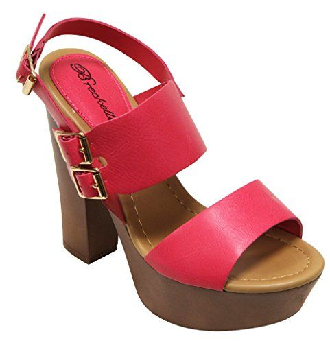 355690a7208 Breckelles Rudy-11 Women s Chunky platform wedge heel slingback buckled  ankle strap PU sandals Hot Pink 7 Was   79.99 Now   32.99