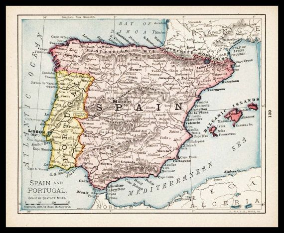 Small Spain Map Of Spain Portugal Map Of Portugal Antique Map - Portugal map to print