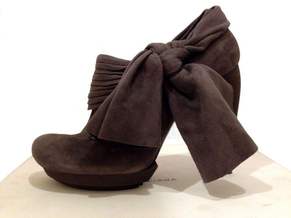 BALENCIAGA PARIS High Heel Stiletto Booties US-8.5 UK-6.5 EU-38.5 Suede Smoke M #Balenciaga #Stilettos