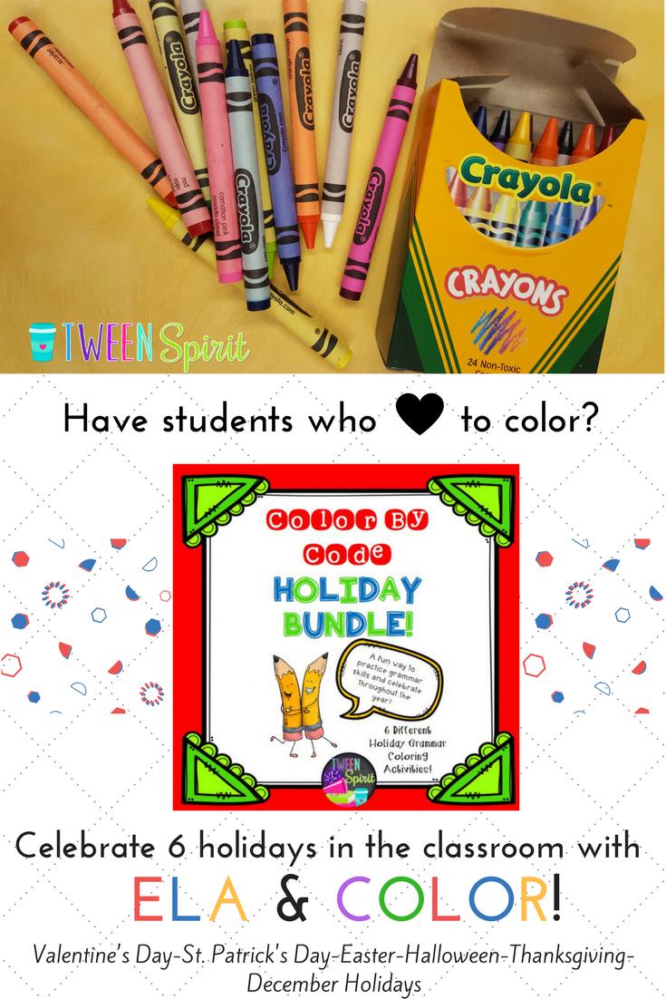 """Holiday ELA BUNDLE! 7 """"Color By Code"""" Activities Grades 3"""