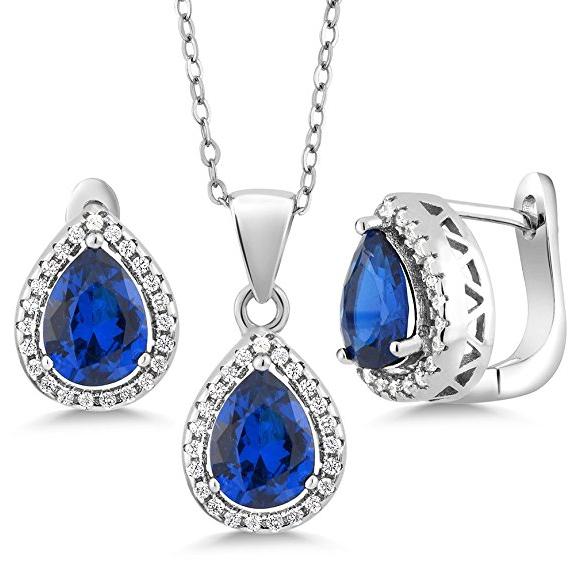 OVAL HALO BLUE PENDANT NECKLACE W// TANZANITE //925 STERLING SILVER 18/'/' CHAIN