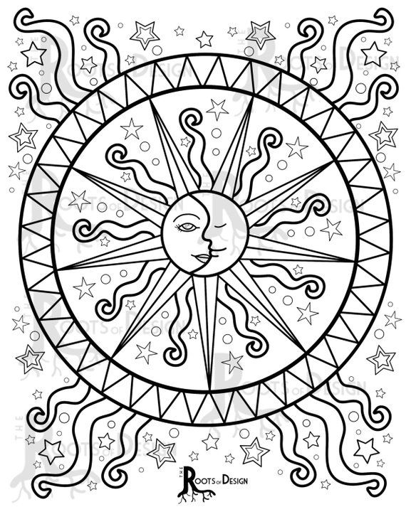 Instant Download Coloring Page Celestial Mandala Design Etsy Moon Coloring Pages Sun Coloring Pages Mandala Coloring Pages