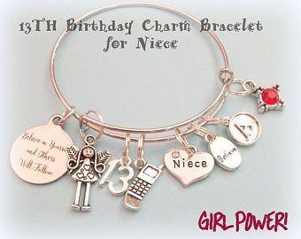 Birthday Gift Girl Niece 13th For Personalized Charm Bracelet Her